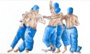 tableau scene de genre : Danses malgaches