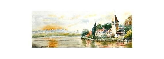 TABLEAU PEINTURE  - L'Ile Barbe à Lyon N°: 09 DH 02