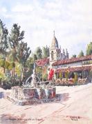 tableau architecture : La Mission de Carmel en Californie .
