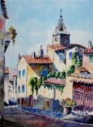 tableau paysages : Aups en Provence , le quartier des Aires