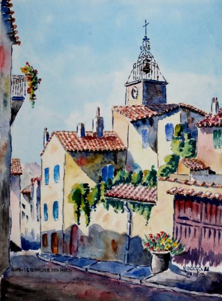 TABLEAU PEINTURE Paysages Aquarelle  - Aups en Provence , le quartier des Aires