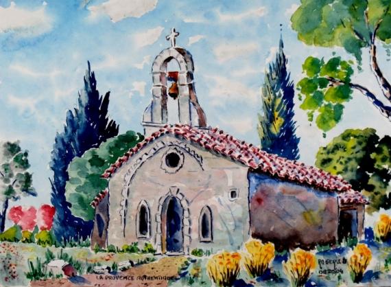 TABLEAU PEINTURE Aquarelle  - la Provence authenyique N° : 08 DS 04
