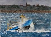 painting marine : Retour du chalutier .