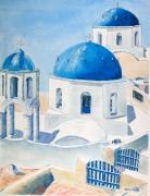 tableau paysages : Souvenir de vacances à Santorin .