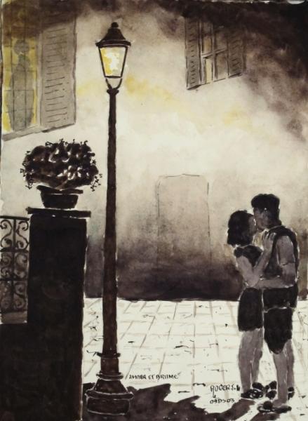 TABLEAU PEINTURE Scène de genre Aquarelle  - Amour et brume