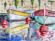 """tableau marine marine bateau port : """" aquarelle """" les pointus """" 10 Tz 01"""