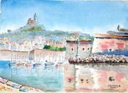tableau : Fort St-Nicolas au Vieux-Port de Marseille