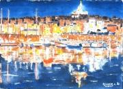 tableau villes : Marseille nocturne