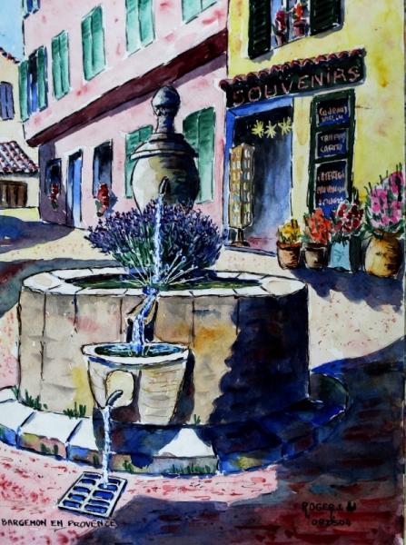 TABLEAU PEINTURE Paysages Aquarelle  - Fontaine à Bargemon , Haut Var