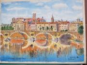 tableau architecture : Toulouse : le Pont neuf.