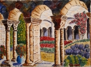 tableau architecture : Le cloître de st Rémy de Provence