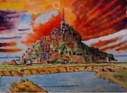 tableau paysages : Le Mont St Michel au soleil couchant N°:04Sz08