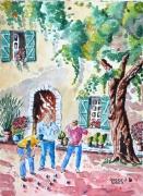 tableau scene de genre : Pétanque provençale