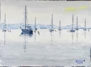 tableau marine mer bateau bateaux : Calme est la mer 04 QT 02