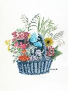 tableau fleurs : Panier aux fleurs