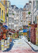 tableau villes : Rue Moufetard à Paris  N° 02 QT 04
