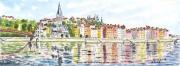 tableau paysages riviere lyon : Bords de Saône
