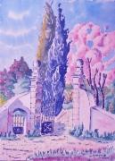 tableau paysages : Amandier rose vers Lascours en Provence N°: 04 SZ 01