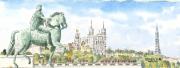 tableau paysages lyon : Place Bellecour Lyon