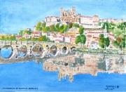 """tableau paysages paysage monument : aquarelle """" la cathédrale Saint Nazaire de Béziers"""""""