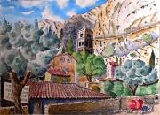 tableau paysages : MoustiersSte Marie , le clocher