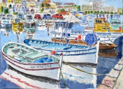 tableau marine marine bateau port ,m : Un port de la Grande Bleue 03 TZ 06