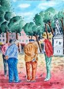 tableau scene de genre : Pétanque à Barjols en Provence .