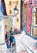 tableau villes : Descente de Fourvière dans le Vieux Lyon