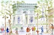 tableau villes : Place de l'étoile à Paris .