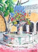 tableau villes : La fontaine fleurie de Seillans (Haut-Var )