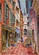 tableau villes : Manosque en Provence : le campanile .