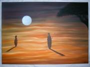 tableau : Pleine Lune Sur Dunes