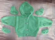 art textile mode sport ensemble gilet tricot layette : ensemble vest à capuche, mouffles et chaussons