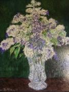 tableau fleurs lilas vase : Vase de lilas 46x38