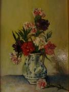 tableau fleurs oeillets vase : Vase d'oeillets 24x35