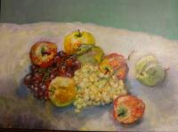 Fruits entablés sur nappe blanche 46x38