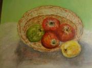 tableau nature morte pommes : Panier de pommes renversées 46x38