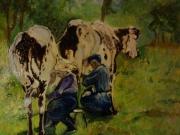 tableau animaux vache : Traite des vaches 46x38