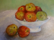 tableau nature morte pommes coupe : Coupe de pommes 46x38