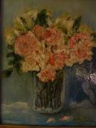 tableau fleurs roses : Vase de roses 24x30