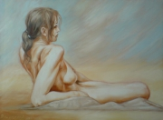 tableau : nue devant desert