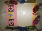 bois marqueterie nature morte plume libellule rose enfant : Indien