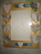 bois marqueterie nature morte enfant cadre coeur naturel : Coeurs en liège