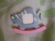bois marqueterie bebe enfant photo : Chat à bascule