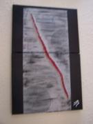 tableau abstrait lave volcan rouge : Lave Volcan Rouge