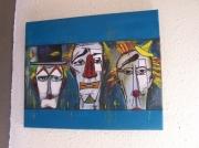 tableau abstrait art 100 : TÊTE DE CLOWNS