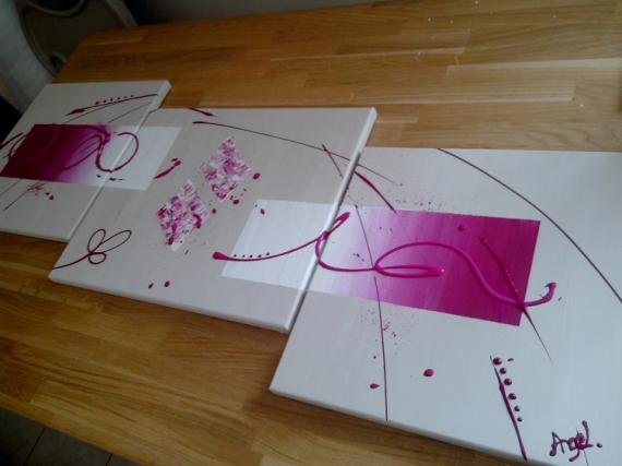 TABLEAU PEINTURE moderne doux Abstrait Acrylique  - pink lady