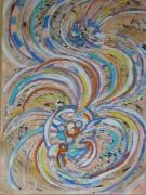 tableau abstrait paon : le paon