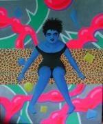 tableau personnages femme assise bleu : la jeune femme bleu