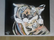 """tableau animaux tigre famille couleurs carnaval : """"Carnaval"""""""
